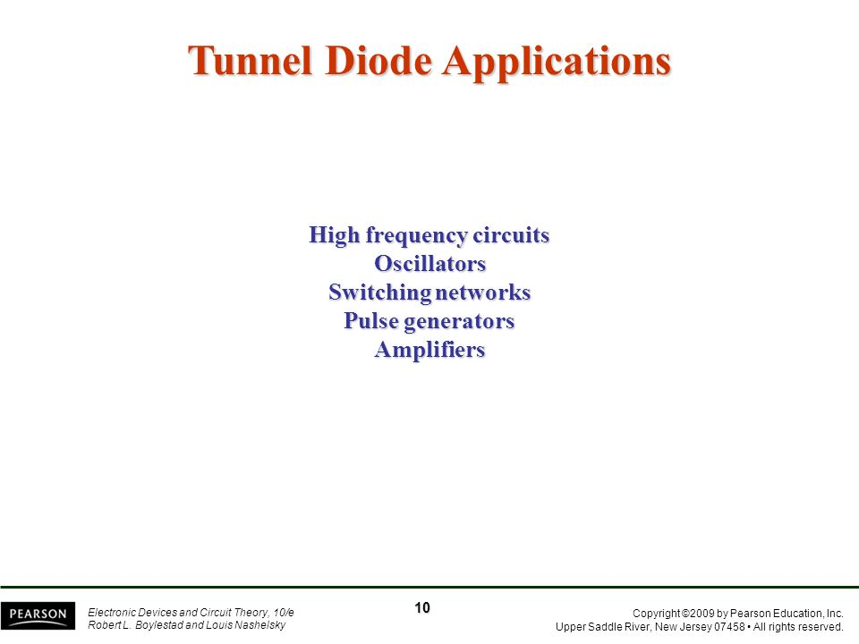 Tunnel Diode Applications High frequency circuits