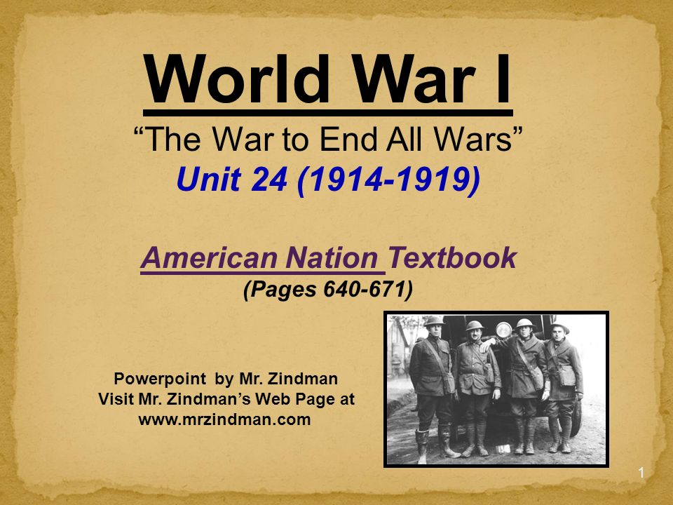 an introduction to the war to end all wars The war to end all wars: world war i: russell the complex and rarely discussed subject of world war ithe tangled relationships and alliances of many nations the introduction of modern weaponry and top-level military decisions that resulted in thousands the war to end all wars.