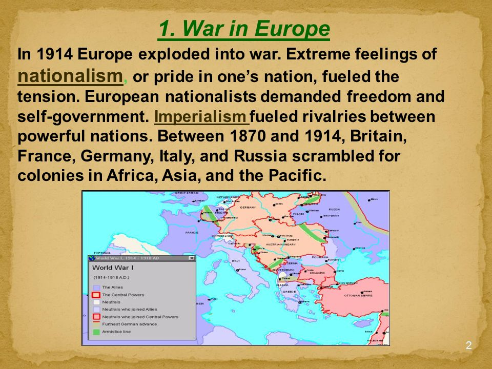 feelings of world war i The causes of world war one were alliances, imperialism, militarism and nationalismi will be going into the detail of these matters to explain the events that triggered the world war.