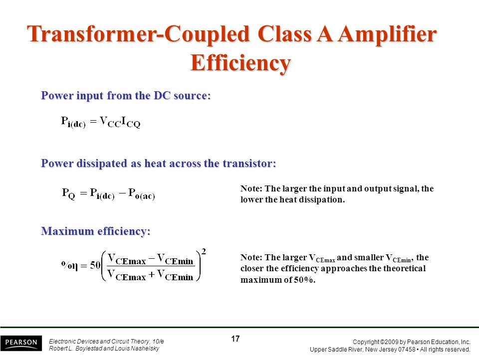 Transformer-Coupled Class A Amplifier Efficiency