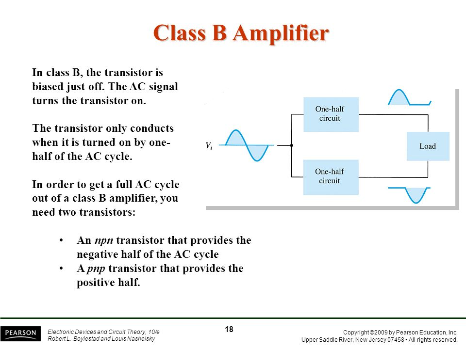 Class B Amplifier In class B, the transistor is biased just off. The AC signal turns the transistor on.