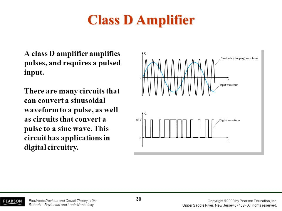 Class D Amplifier A class D amplifier amplifies pulses, and requires a pulsed input.