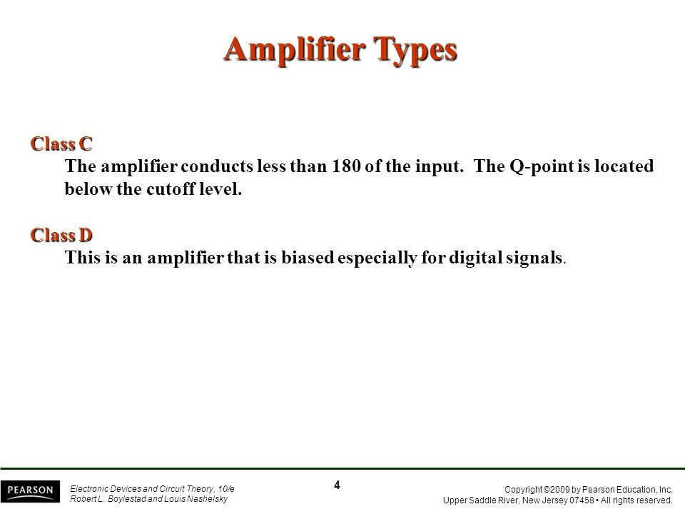 Amplifier Types Class C
