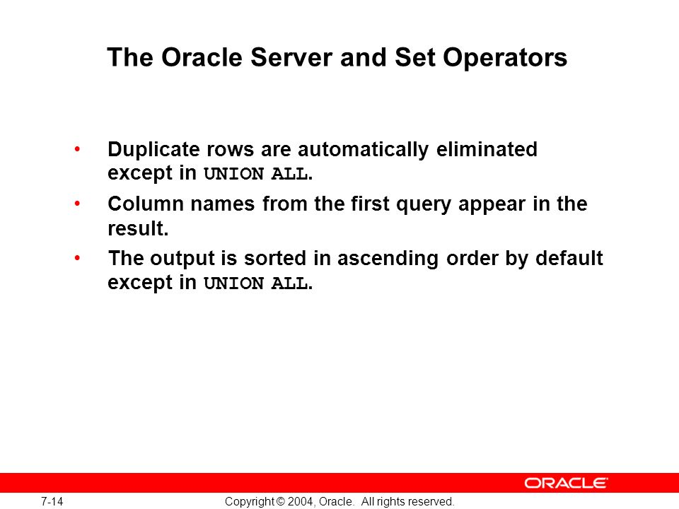 The Oracle Server and Set Operators