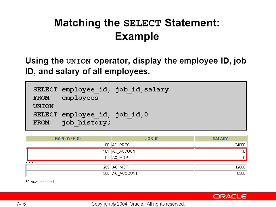 Matching the SELECT Statement: Example