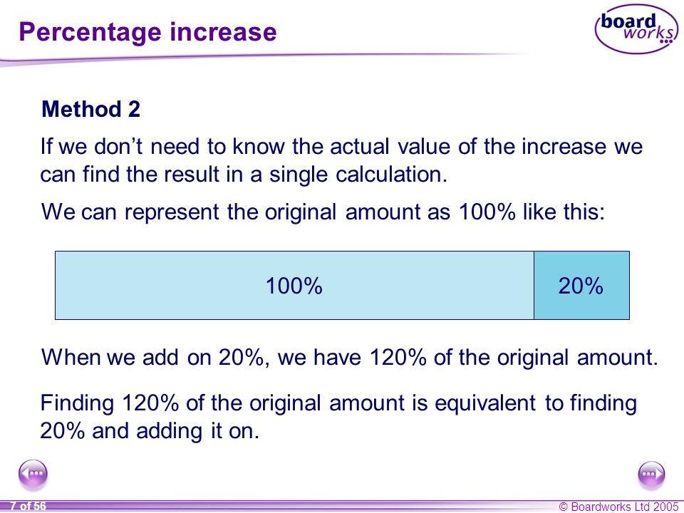 Percentage increase Method 2