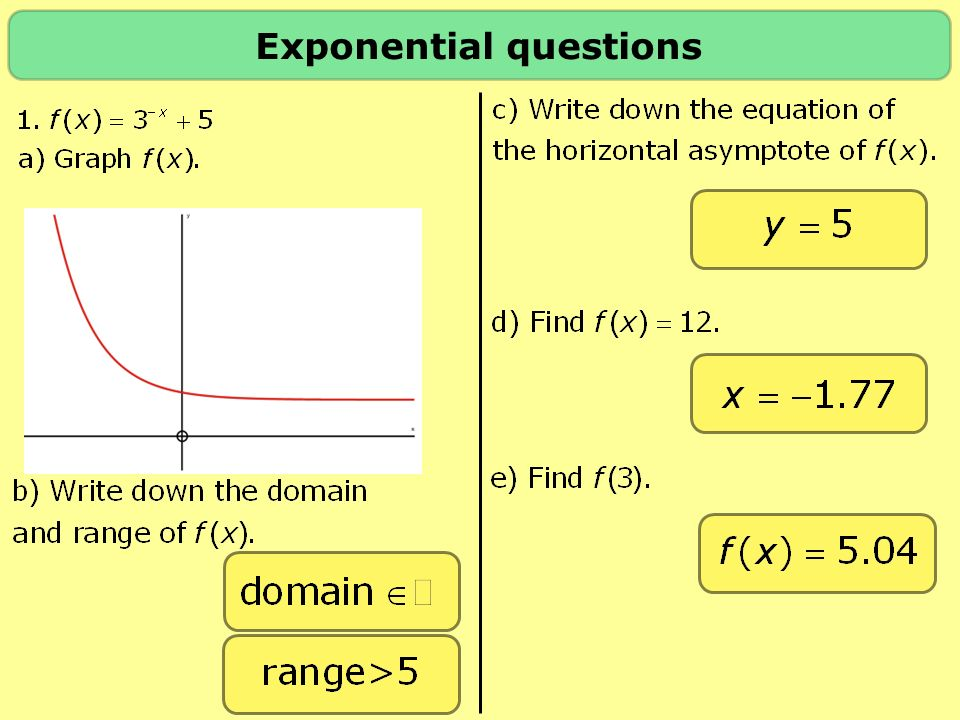 Exponential questions