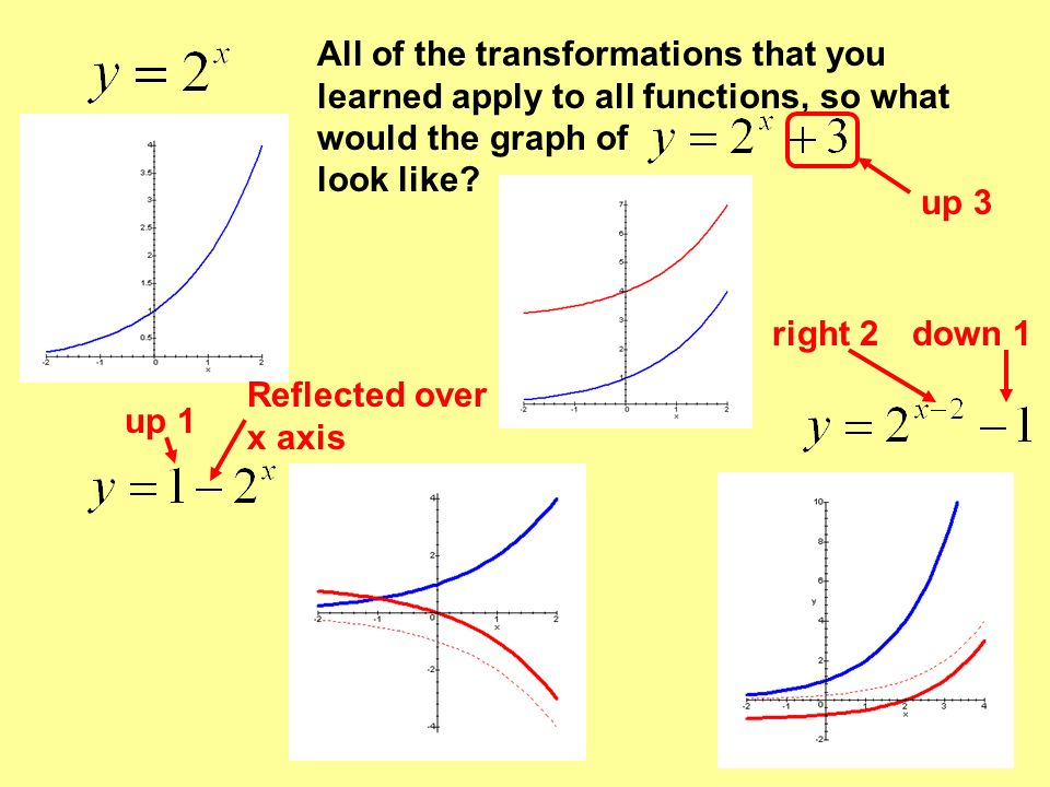 All of the transformations that you learned apply to all functions, so what would the graph of look like