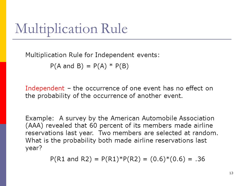 Multiplication Rule Multiplication Rule for Independent events: