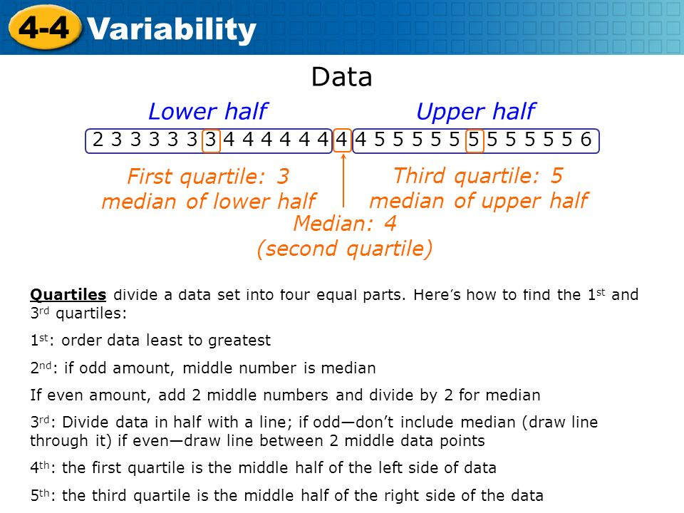 Course 3 4-4. Variability. Data.