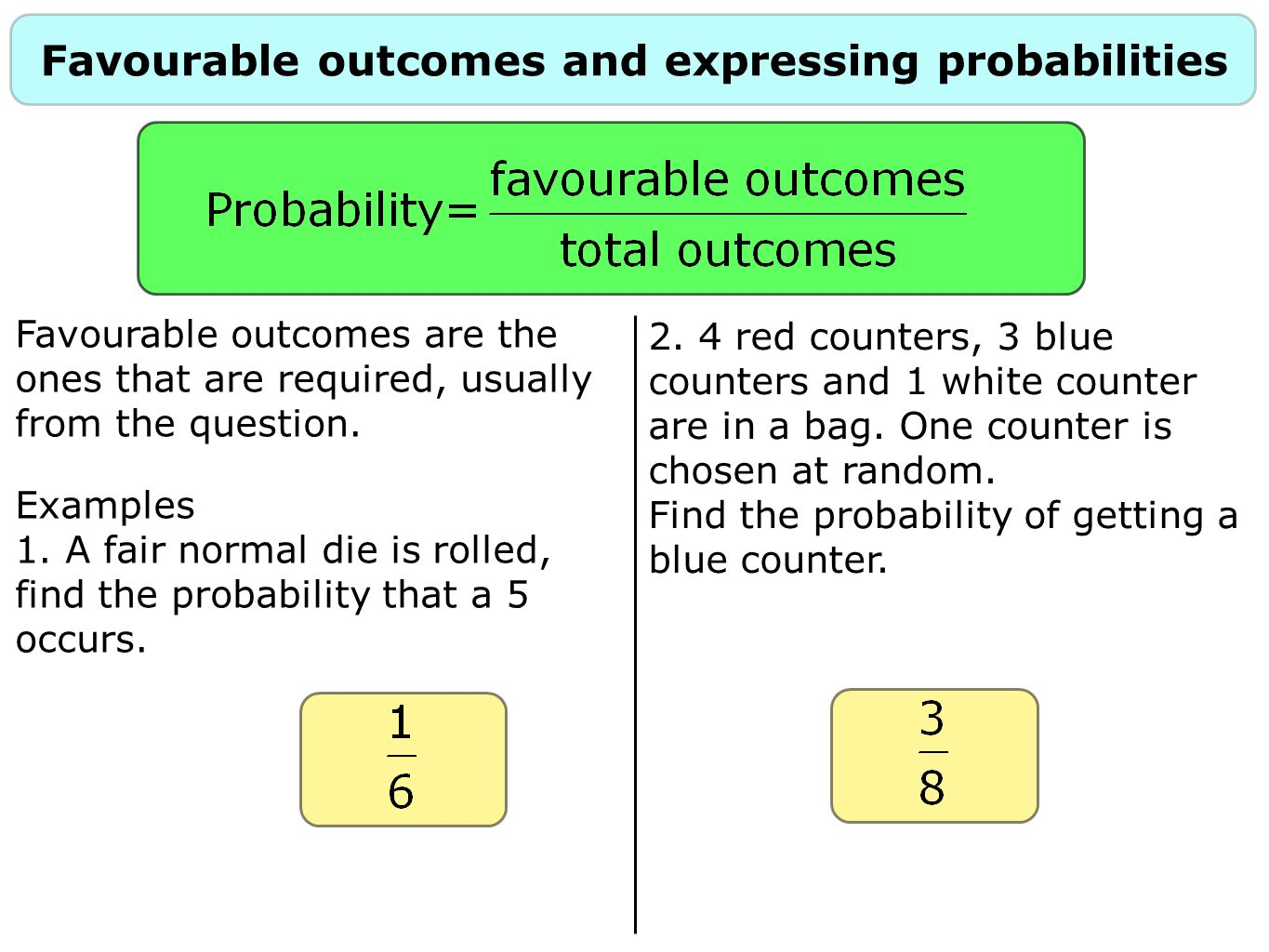 Favourable outcomes and expressing probabilities