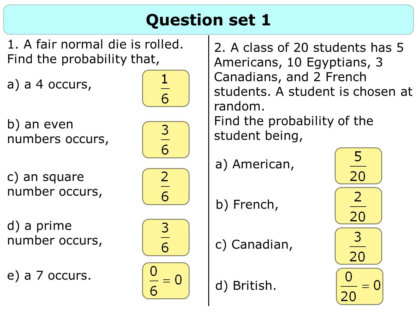 Question set 1 1. A fair normal die is rolled. Find the probability that,