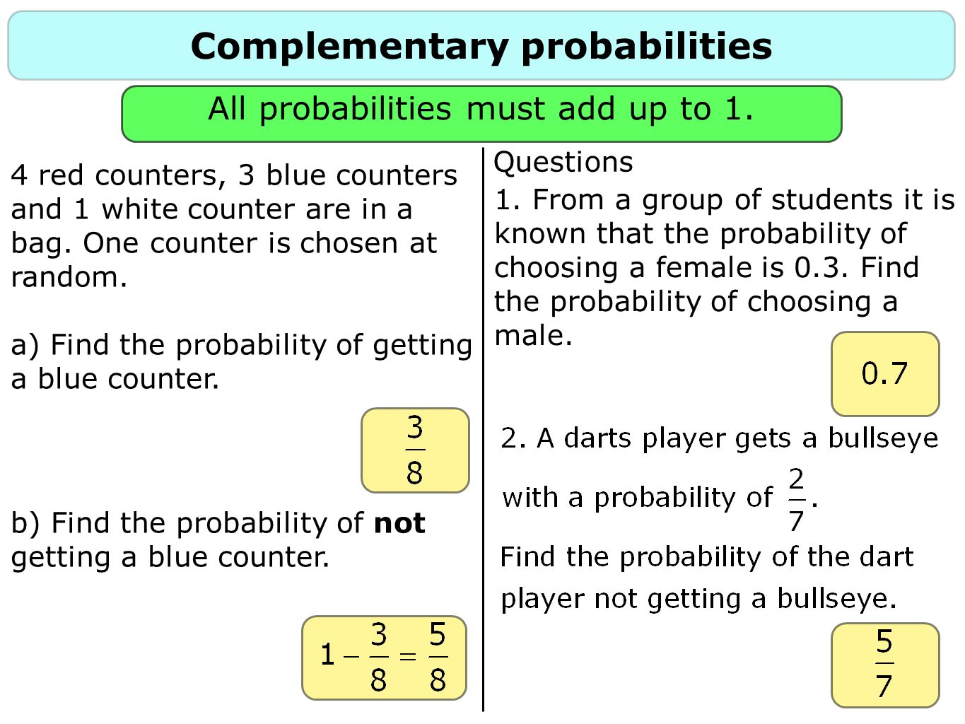 Complementary probabilities