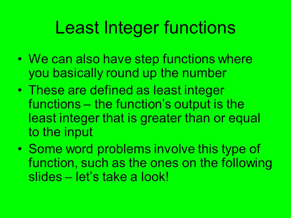 Least Integer functions