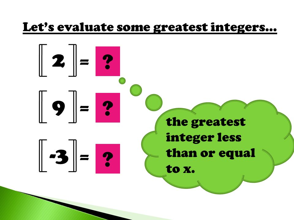 2 2 9 9 -3 -3 = = = Let's evaluate some greatest integers…