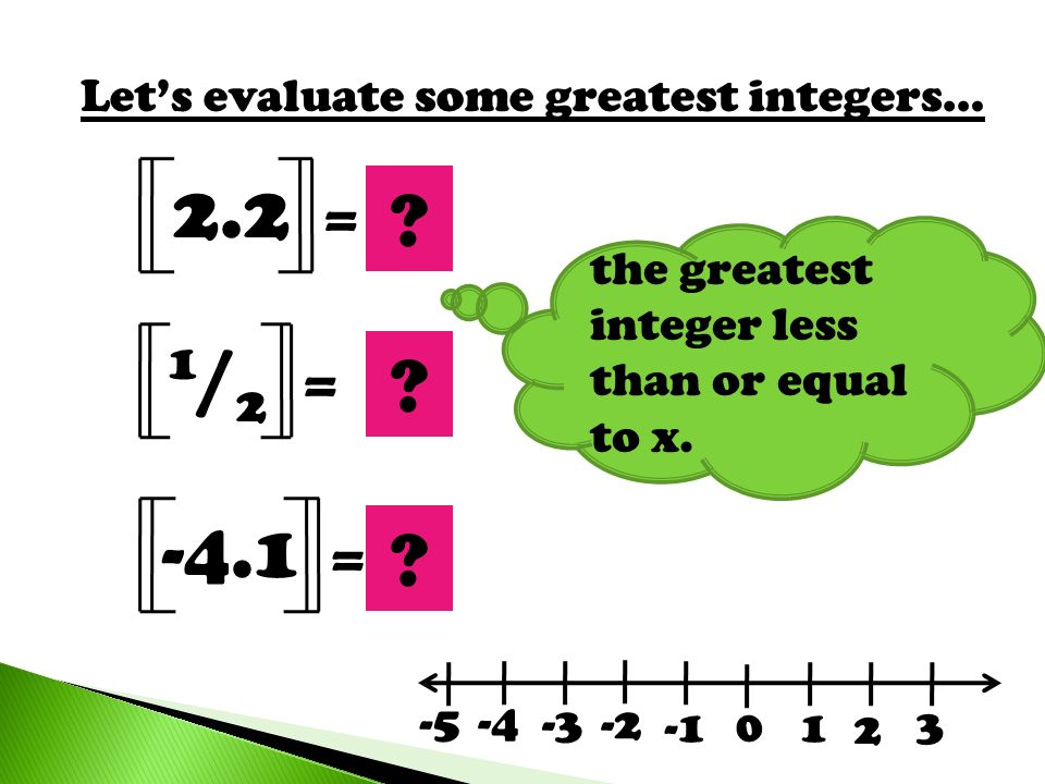 2.2 2 1/2 -4.1 -5 = = = Let's evaluate some greatest integers…