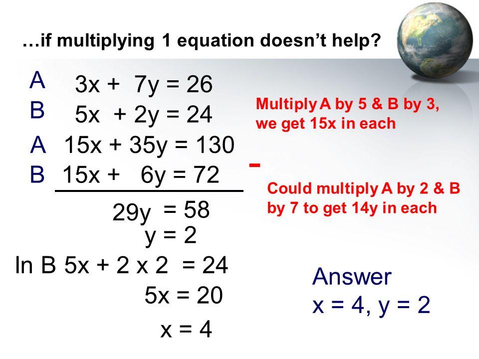 - A 3x + 7y = 26 B 5x + 2y = 24 A 15x + 35y = 130 B 15x + 6y = 72 29y