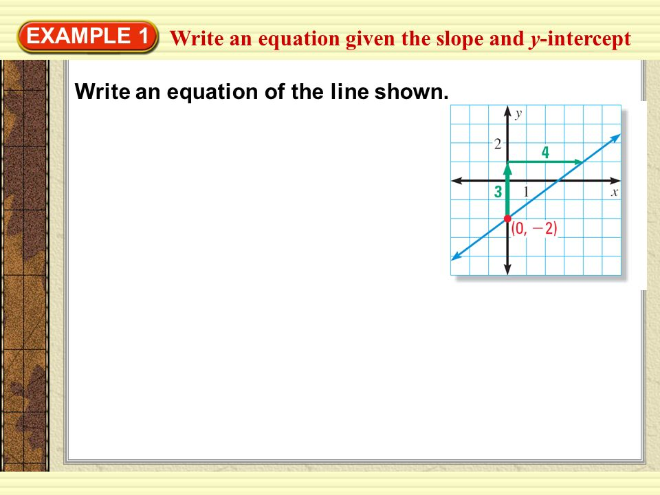EXAMPLE 1 Write an equation given the slope and y-intercept Write an equation of the line shown.