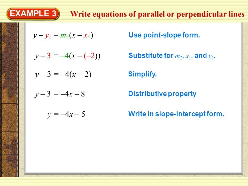 Write equations of parallel or perpendicular lines