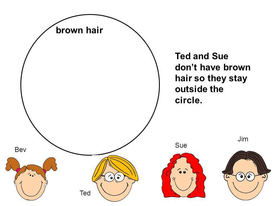 Ted and Sue don't have brown hair so they stay outside the circle.