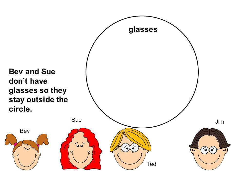 Bev and Sue don't have glasses so they stay outside the circle.