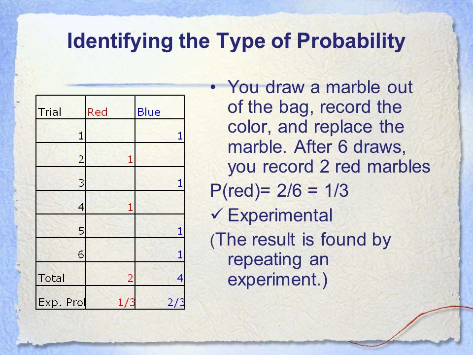Colored Marbles For Probability Lesson : Experimental probability vs theoretical ppt