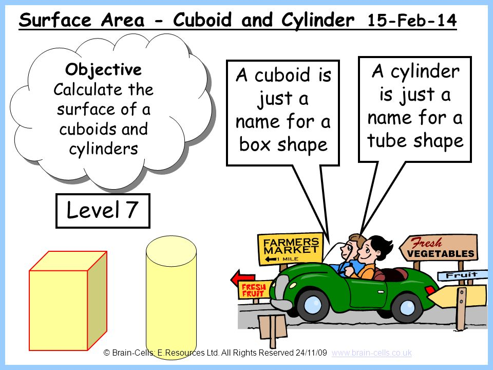 Level 7 Surface Area - Cuboid and Cylinder 28-Mar-17