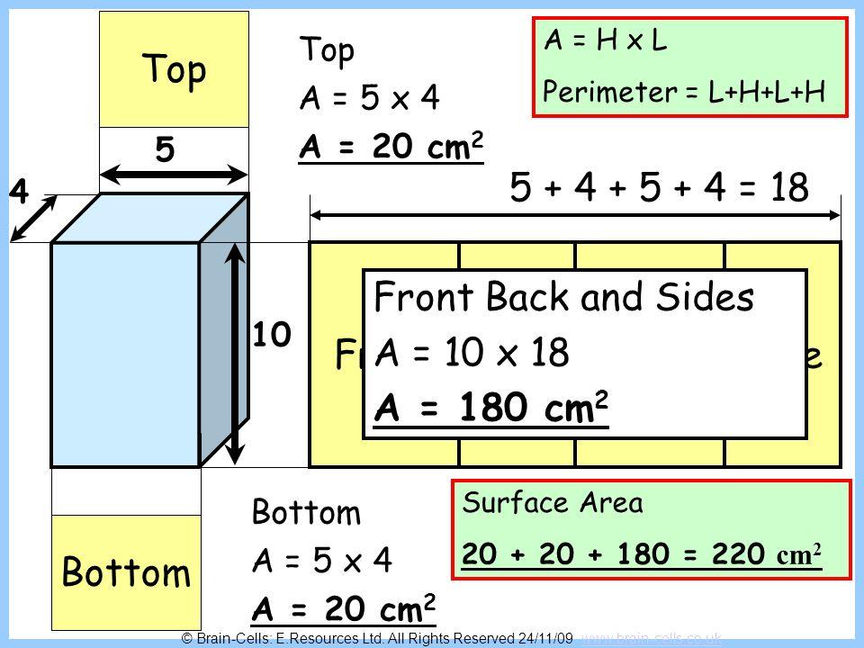 Top 5 + 4 + 5 + 4 = 18 Front Side Back Side Front Back and Sides