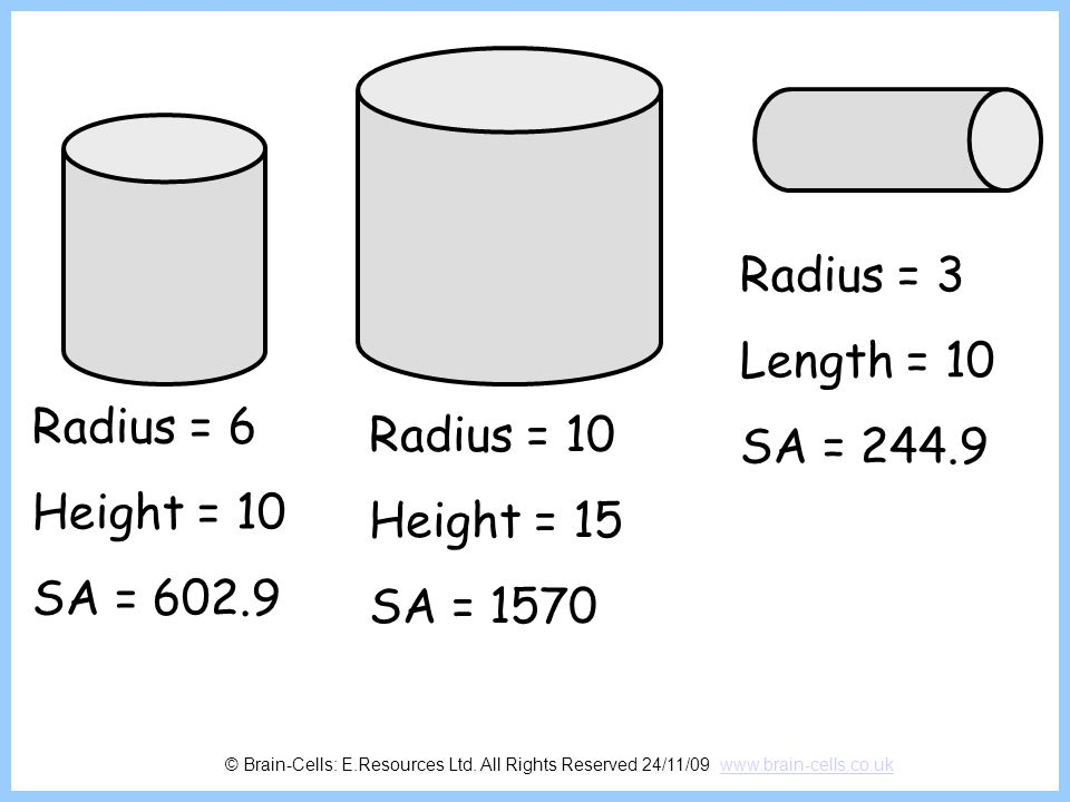 Radius = 3 Length = 10 SA = Radius = 6 Radius = 10 Height = 10