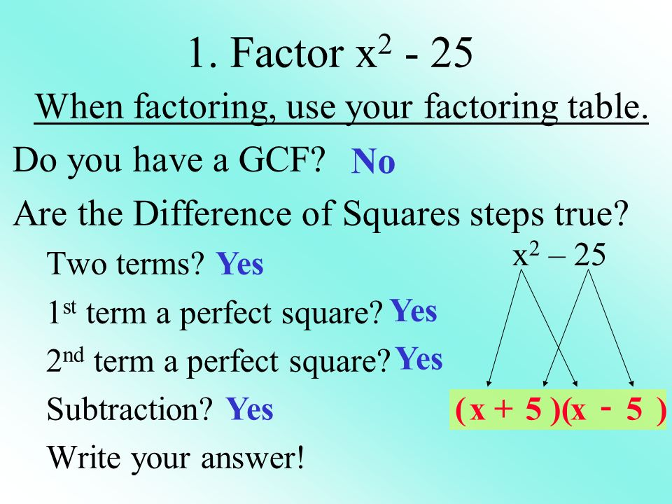 When factoring, use your factoring table.