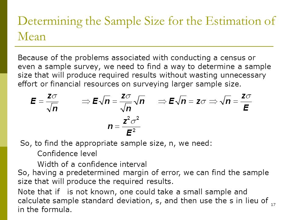 ESTIMATES AND SAMPLE SIZES - ppt download