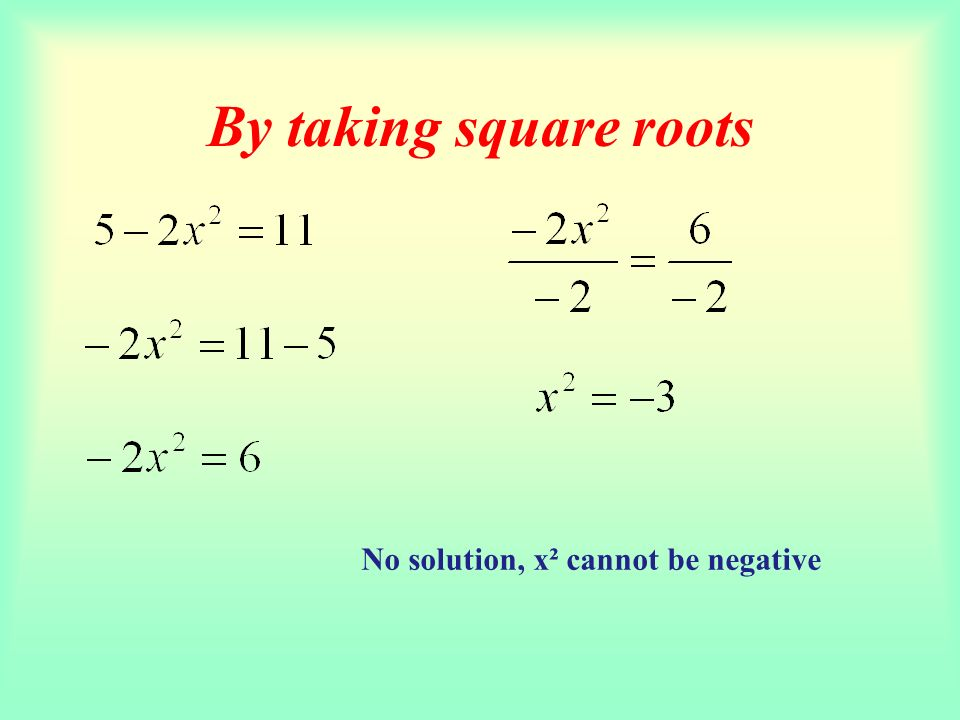 By taking square roots No solution, x² cannot be negative