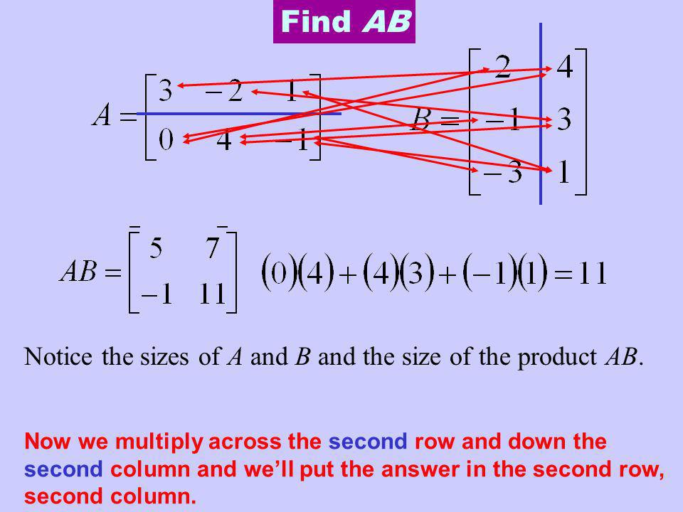 Find AB Notice the sizes of A and B and the size of the product AB.