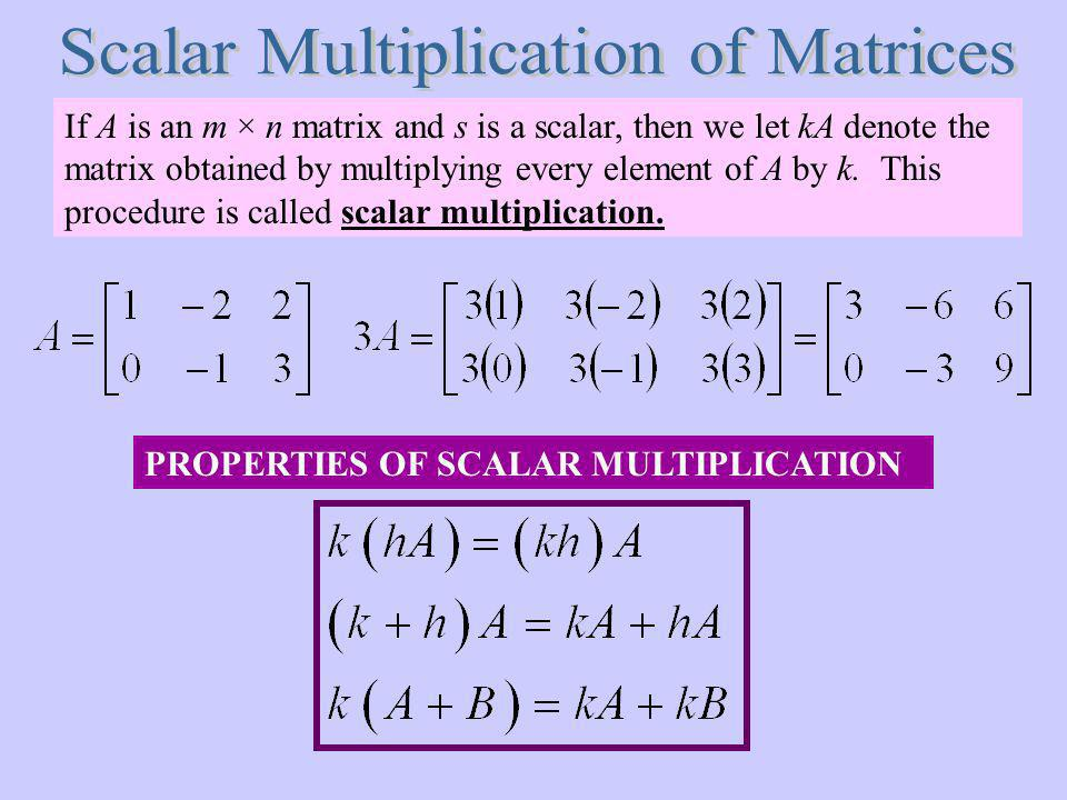 Scalar Multiplication of Matrices