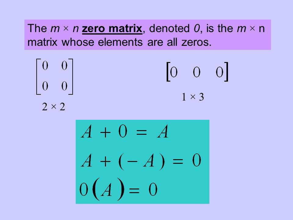 The m × n zero matrix, denoted 0, is the m × n matrix whose elements are all zeros.