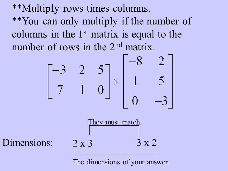 **Multiply rows times columns.