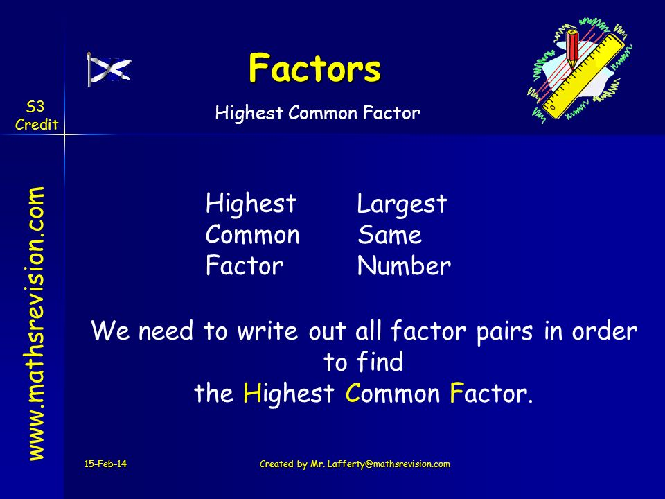 Factors Highest Common Factor Largest Same Number