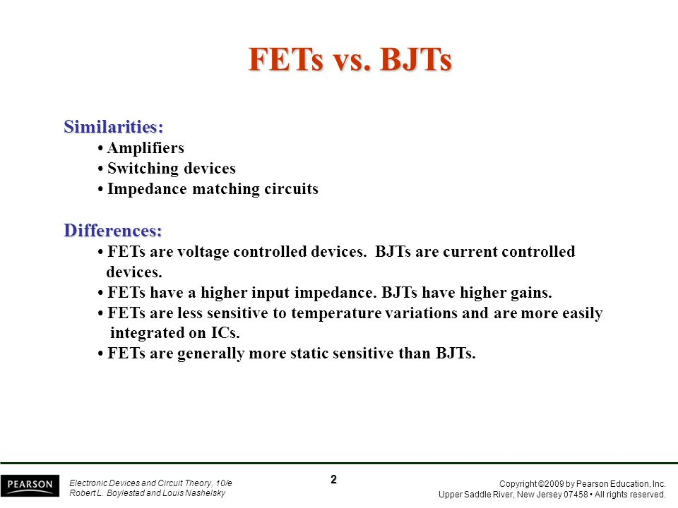 FETs vs. BJTs Similarities: Differences: • Amplifiers