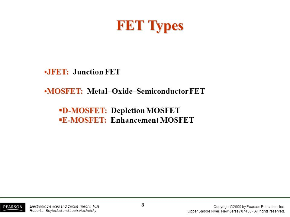 FET Types JFET: Junction FET MOSFET: Metal–Oxide–Semiconductor FET