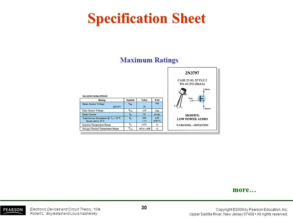 Specification Sheet Maximum Ratings more… 30
