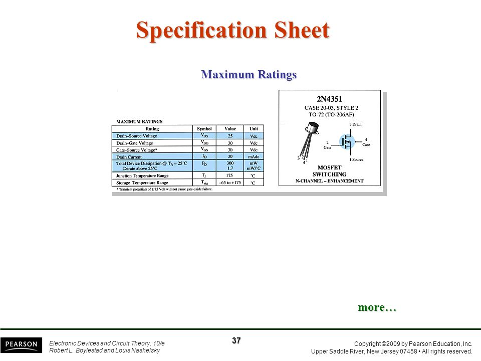 Specification Sheet Maximum Ratings more… 37