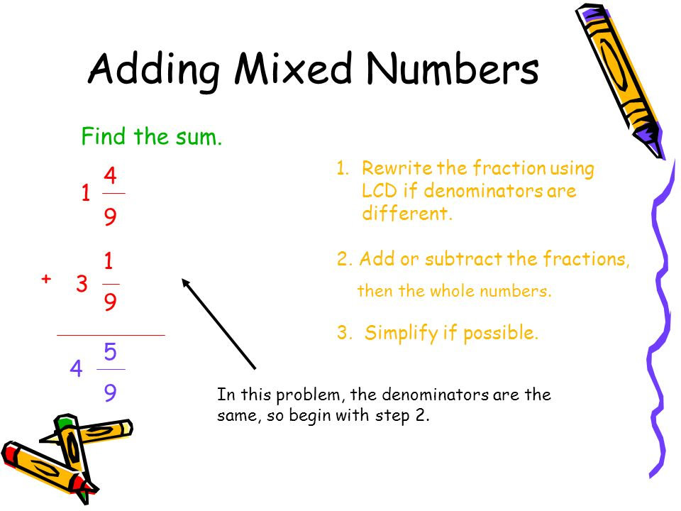 Adding Mixed Numbers Find the sum. 4 9 1 1 9 + 3 5 9 4