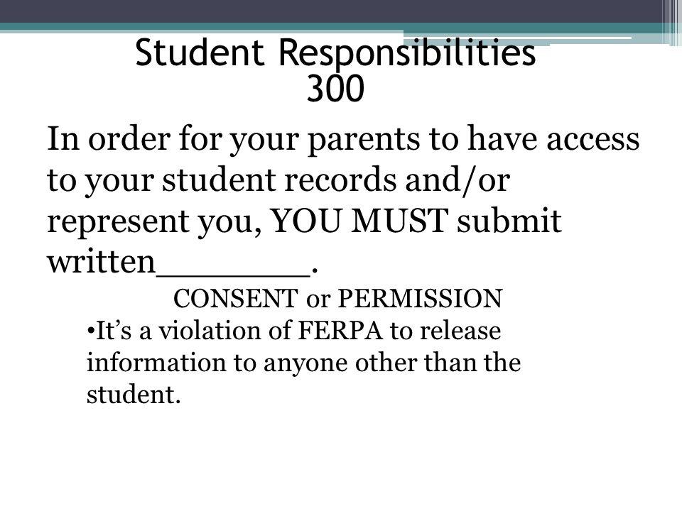 Student Responsibilities 300