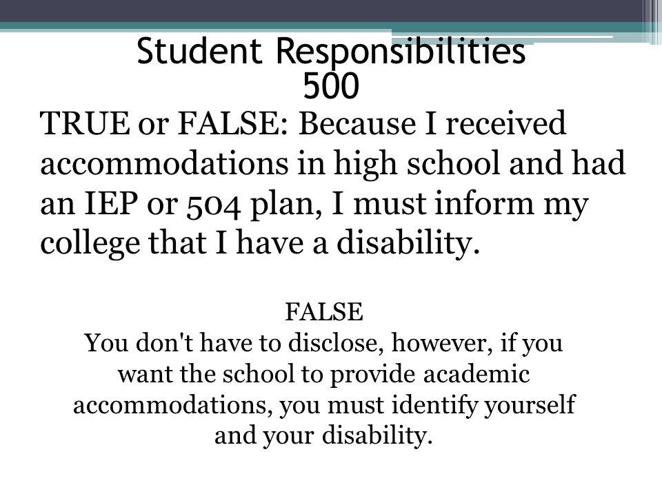 Student Responsibilities 500