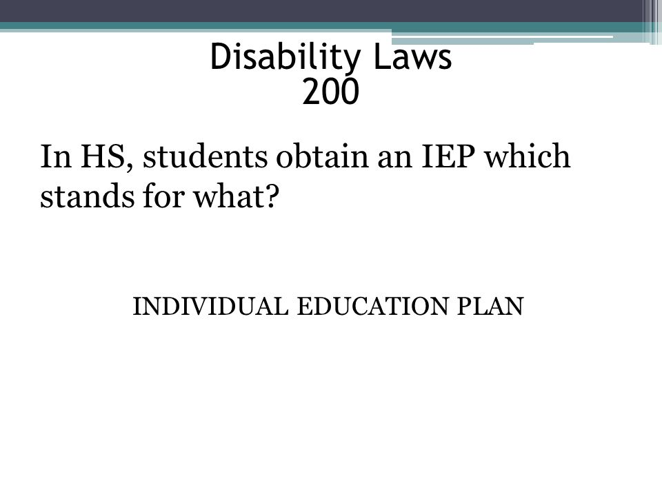 INDIVIDUAL EDUCATION PLAN