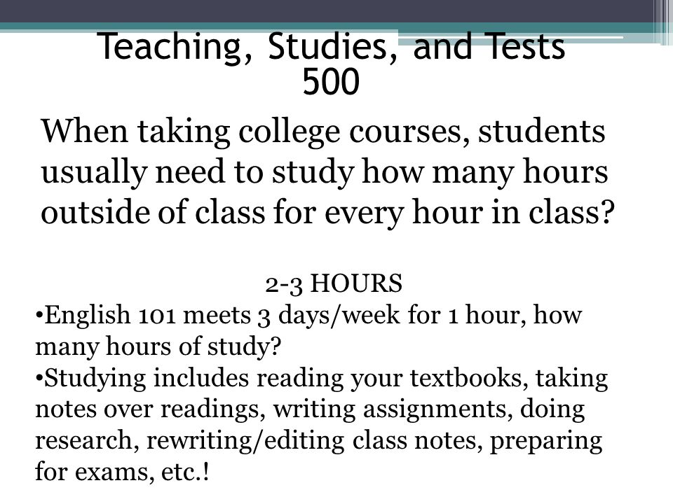 Teaching, Studies, and Tests
