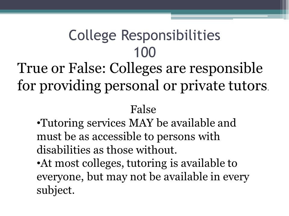 College Responsibilities 100