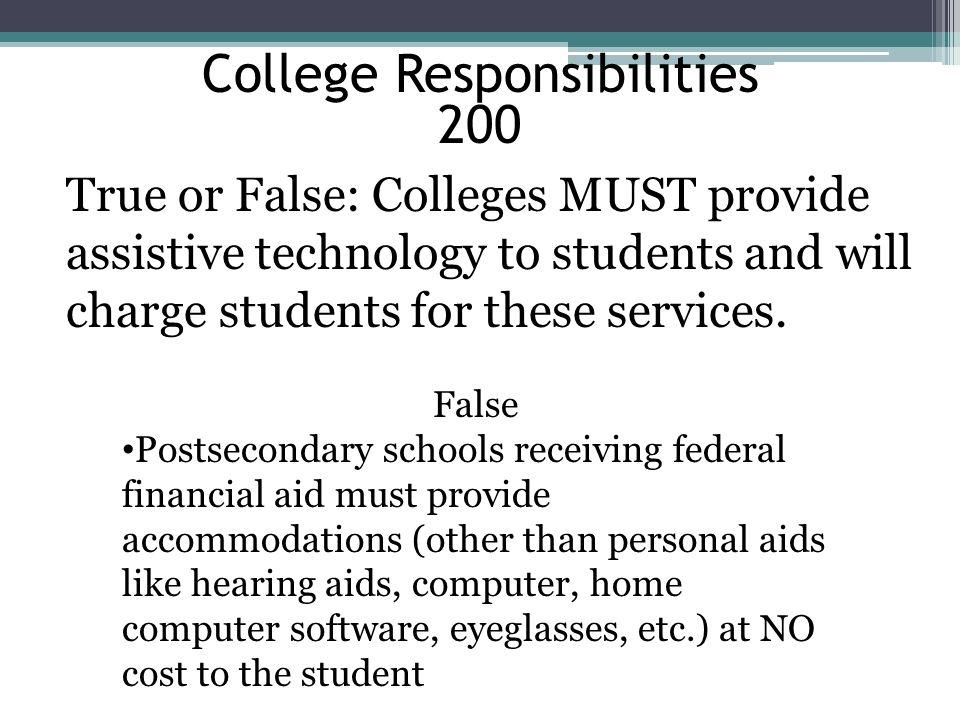 College Responsibilities 200