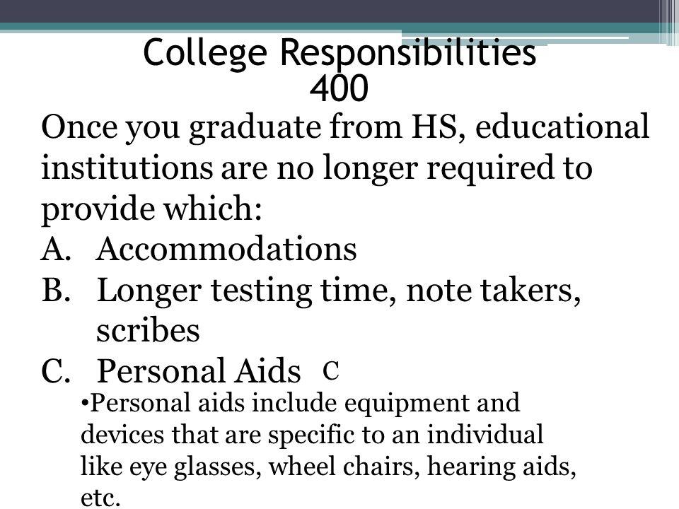 College Responsibilities 400