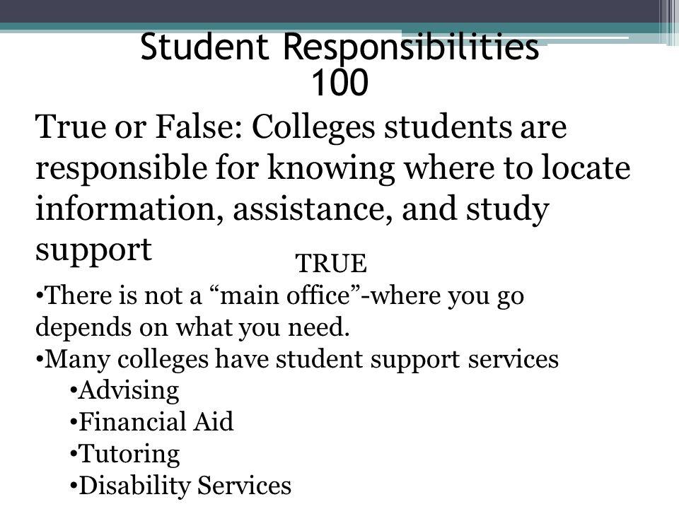 Student Responsibilities 100